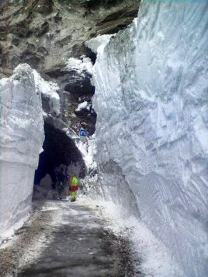 Tunnel cleared of snow and leading to the Vanoise National Park