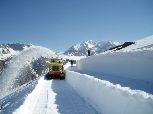 Snow ploughs working above Val d'Isere resort